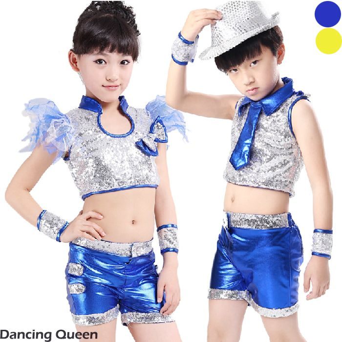 US $22.00 / piece Boy/Girl Jazz Dance Dress Top&Pants&Cuff Children Cha Cha/Rumba/Samba/Ballroom/Latin Dance Dress Yellow/Blue Dance Wear