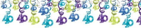 The Party Continues 40th Birthday Swirl Decorations 30ct - Party City
