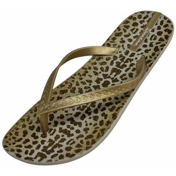 Beige & Gold Ipanema Leopard Jane Brazilian Flip Flops ($15) ❤ liked on Polyvore featuring shoes, sandals, flip flops, flip flops women, footwear, gold, summer sandals, leopard sandals, beige flip flops and summer shoes