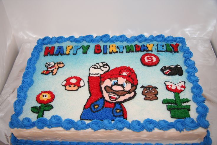 Mario Brothers birthday cake - This took me forever!!  A customer gave me a picture of a cake she wanted for her nephew's birthday, and I couldn't tell if stars were used, or not.  And, the cake looked like it was at least a 1/2 sheet cake, but this is a 9x13 sheet cake.  So, I had to draw everything by hand and do reverse transfers.  I was at least able to find the right Mario picture on the internet and trace that.  This is a WASC cake with all buttercream decorations.  TFL