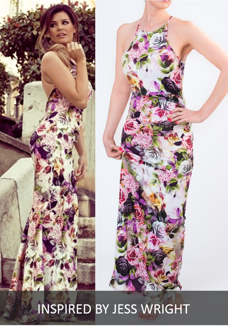 ELSA FLORAL PRINT MAXI DRESS WITH SIDE RUCH BY GIRL VS FASHION