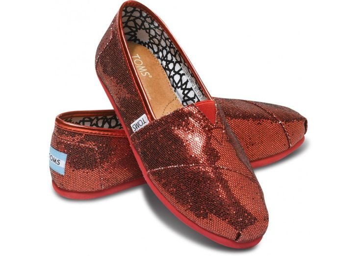 Red Women's Glitters | TOMS.com. REALLY want. And then of course I will need tickets to Wicked. And I will wear them with a blue gingham dress. And it won't even matter that Dorothy isn't in Wicked because I will be sporting some really cool ruby red TOMS.