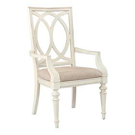 Bassett Highlands Pierced Back Side Chair Without Arms In Antique White Choice Of Fabrics Put On At Dining Room