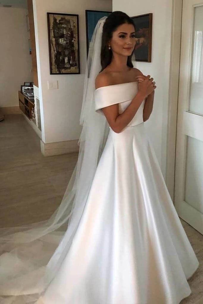 Ivory Wedding Dresses A line satin off the shoulder with short sleeved bridal gowns PW493