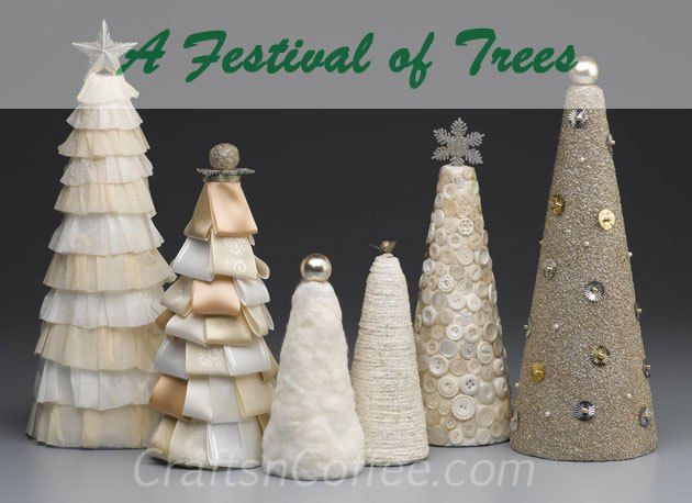 Learn how to make all of these beautiful tabletop Christmas trees on CraftsnCoffee.com.