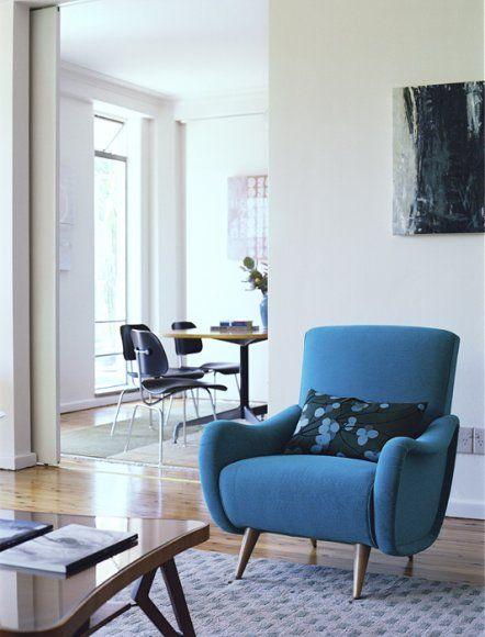 the power of colour with white, blue chair, Chris Court Photography