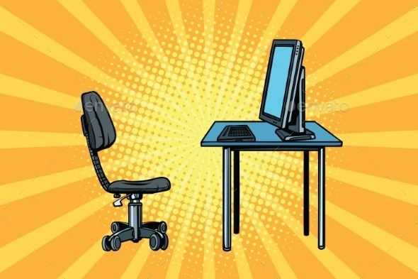 Computer Workstation and Chair by studiostoks computer workstation and chair. Pop art retro vector illustration