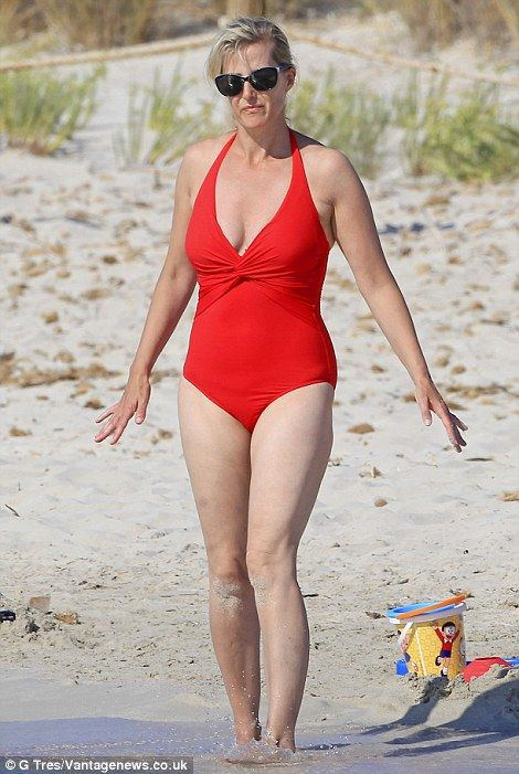 Looking good: A slender Sophie Wessex on holiday in Ibiza in July 2014.