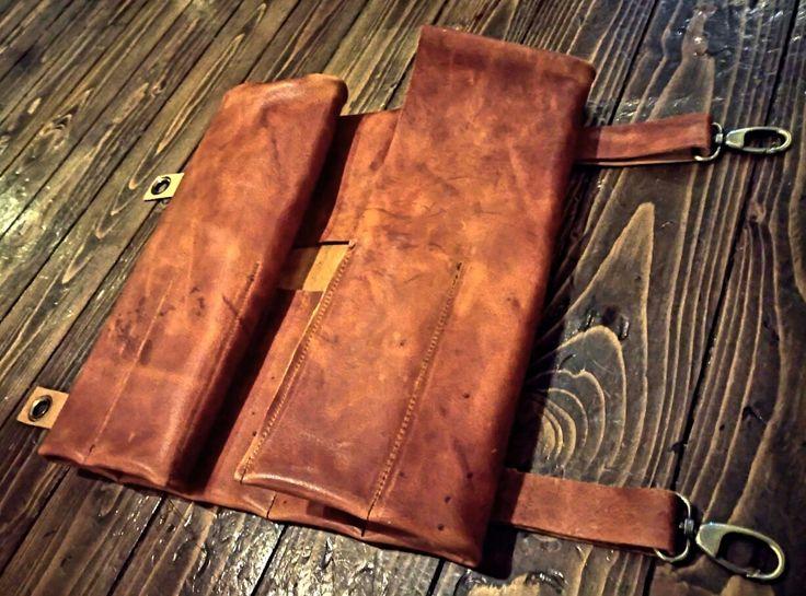Handmade full leather roll case  Facebook @2handap #2HandmadeAprons