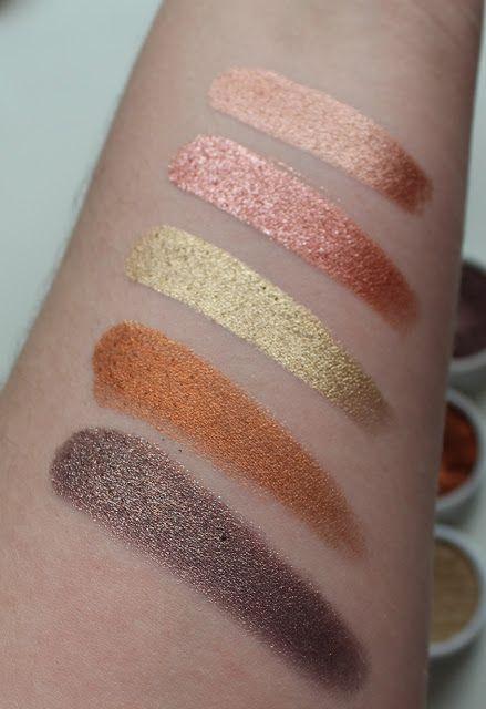 Photo of colourpop shadows in shades LaLa (ultra metallic), Sequin (metallic), Get Lucky (ultra metallic), Game Face (ultra metallic), Cricket (metallic) swatches