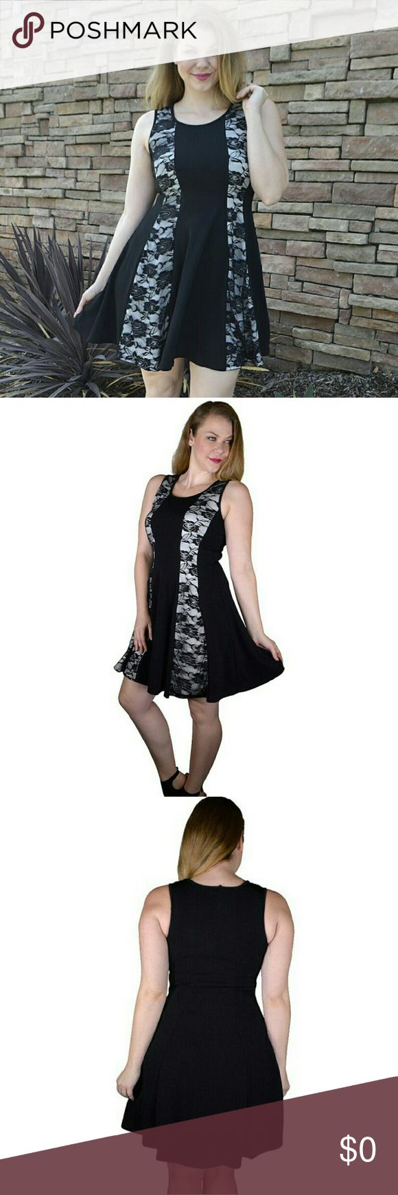 Plus Size Lace Paneled Round Neck Sleeveless dress This skater dress is styled in a solid black color scheme with floral-detailed lace panels gracing both sides in a vertical design. Featuring a neatly defined round neckline, this solid skater dress exhibits crisp pleats that nicely complement the polyester and spandex combination to render an impressive fitting to the user.    Made in U.S.A 1XL.2XL.3XL 96% Polyester 4% spandex TRUE TO SIZE Model is Wearing size: 1XL  Item Measurements:SIZE…