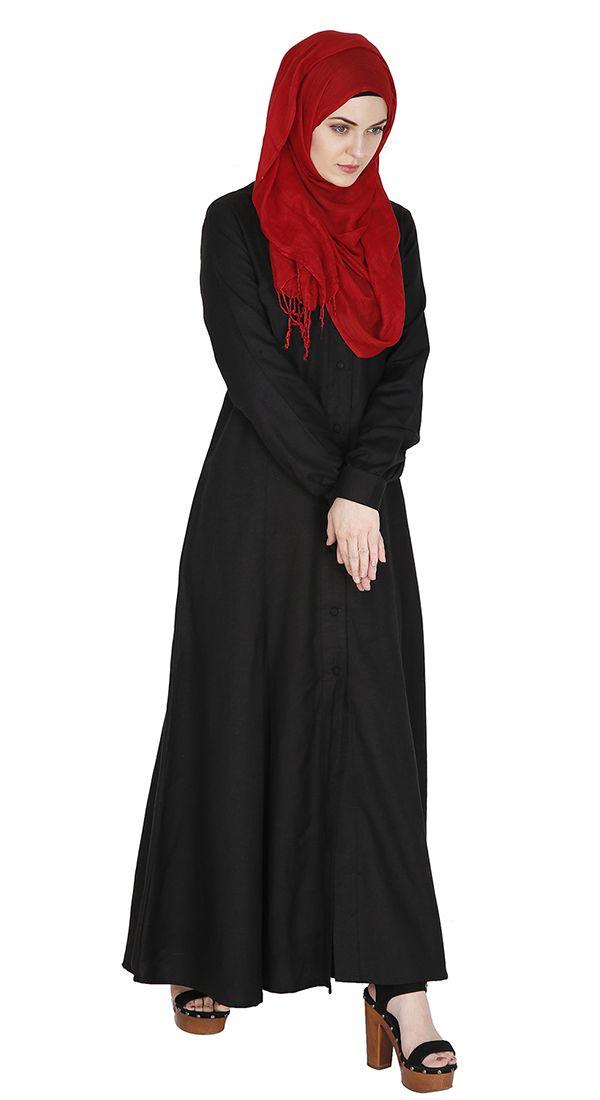 Cotton Linen Black Abaya