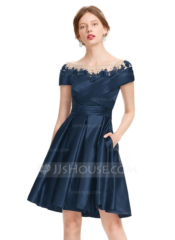 e85472dc70963 A-Line/Princess Scoop Neck Knee-Length Satin Homecoming Dress With Ruffle Beading  Sequins Pockets