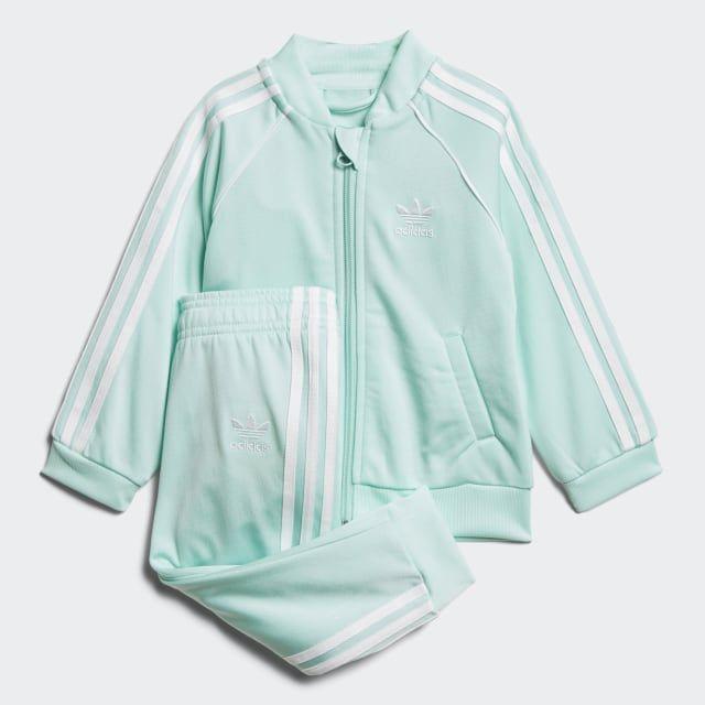Baby Boys adidas Logo Sports Tracksuit In Blue Grey Ribbed Collar, Sweat: