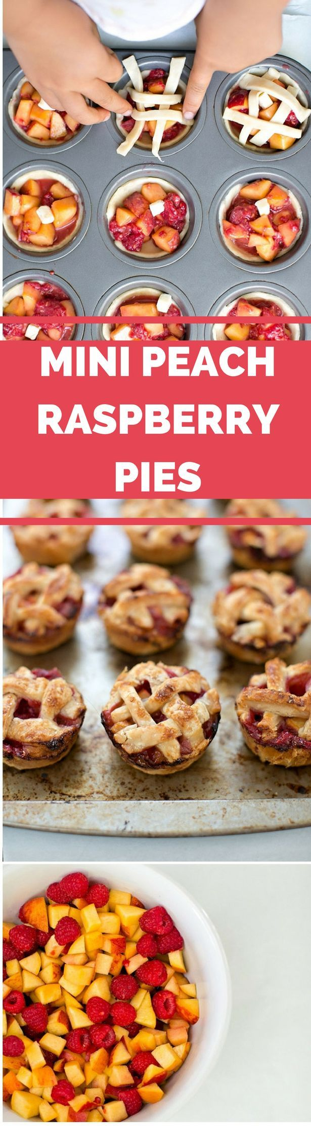 Mini Raspberry Peach Pies are easy and delicious for kids to make. See our step by step on how a 5 year old made these! A fun baking and cooking with kids recipe.