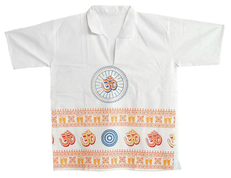 White Short Kurta with Om Print (Cotton)