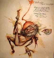 """The Fairy Call. A Spell for Summoning Fairies. Sit Where the cat sits. Cross your toes. Close your eyes. And smell a rose. Then say under your breath, """"I believe in fairies sure as death."""" Gadflykins! Gladtrypins! Gutterpuss and Cass!  Come to me fairily each lad and lass!    The Pressed Faeries By Brian Froud"""