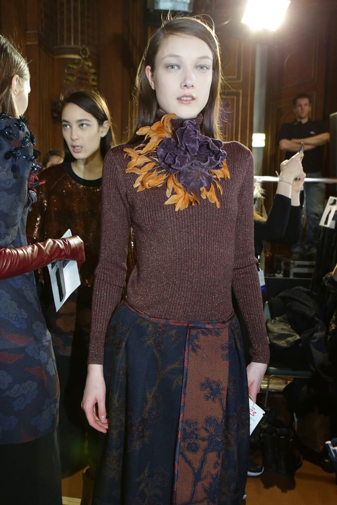 Backstage at Dries Van Noten RTW Fall 2015 [Photo by Delphine Achard]