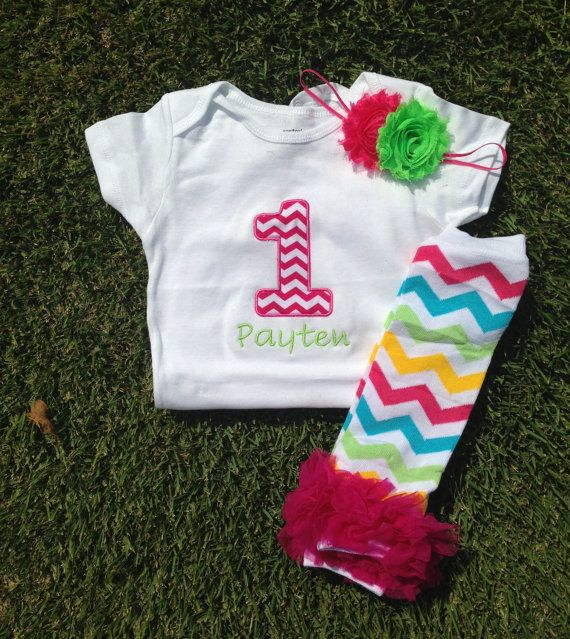 Hot pink chevron rainbow chevron birthday outfit - 1st birthday shirt and headband - chevron leg warmers and headband