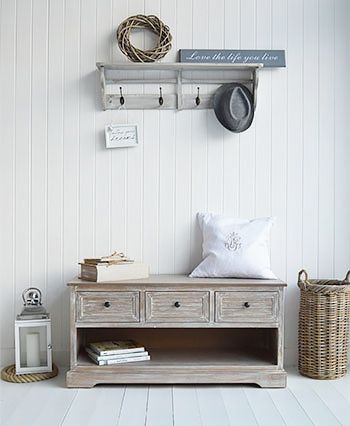 Richmond storage shoe bench for hall furniture. Perfect for large hallways for cottage and coastal interiors