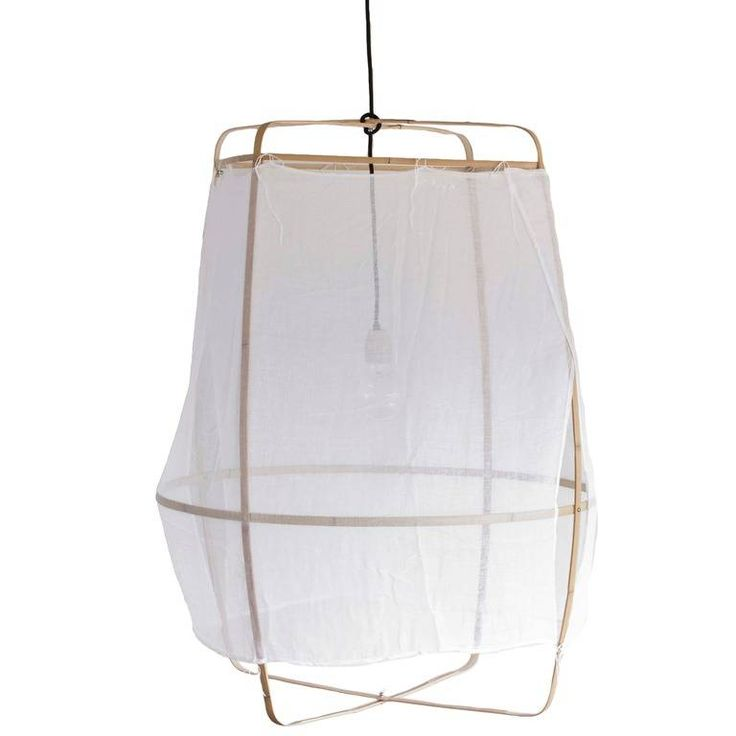 Ay Illuminate Hanglamp Z2 Ona bamboe met witte katoen cover ø77x105cm - wonenmetlef.nl