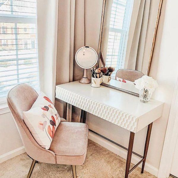 Audrey Mini Desk Parchment Stylish Bedroom Home Decor Interior