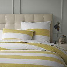 Stripe Duvet Cover + Shams- White/Citron: Yellow Stripes, Guest Bedrooms, Duvet Covers, Master Bedrooms, Stripes Duvet, Guest Rooms, West Elm, Gray Wall, White Citron