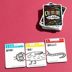 Chronicle Books, $14.99 Ages 6 and up 2 to 6 players                  This wildly clever card game battled its way to the top of our tester picks. Players take turns creating fantastical animals by picking three cards: a front, middle, and back. Next, they choose a player to attack, who then makes her own critter (a CROC-ma-bee, say, or a VUL-qui-ster). The winner is determined by adding up the numerical strengths of the various creature parts. Translation? Math is fun! chroniclebooks.com