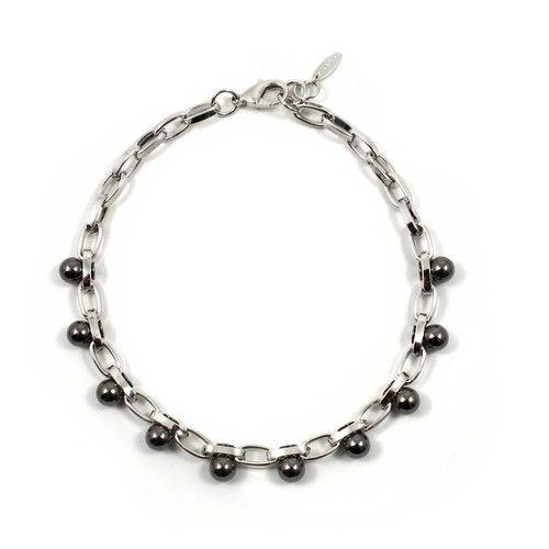 Modern Muse Single Row Sphere Necklace - Rhodium / Ruthenium