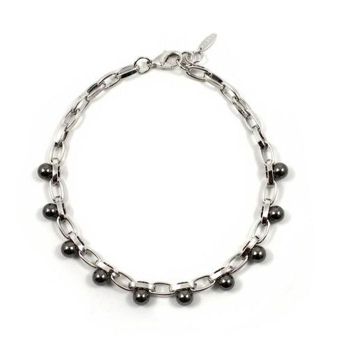 Modern Muse Single Row Sphere Necklace - Rhodium / Ruthenium