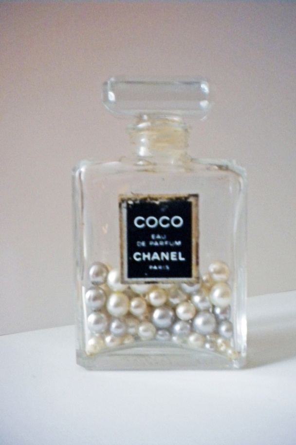 Vanity tray - Vintage Chanel perfume bottle filled with faux pearls