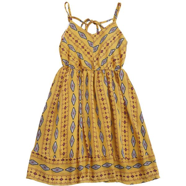 Argly Cami Chiffon Sundress Yellow ($17) ❤ liked on Polyvore featuring chiffon camisole, brown cami, chiffon cami, yellow camisole and yellow cami