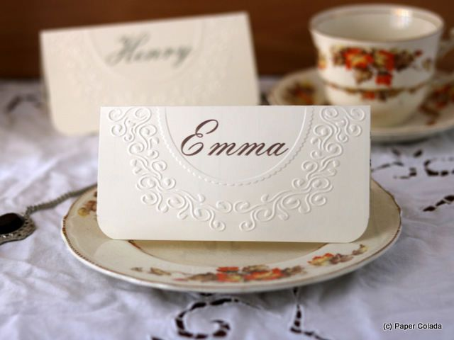 Wedding Place Cards - 'Sensibility', Georgian Regency themed wedding placecards, Vintage place name cards wedding, Rustic vintage decor by PaperColada on Etsy