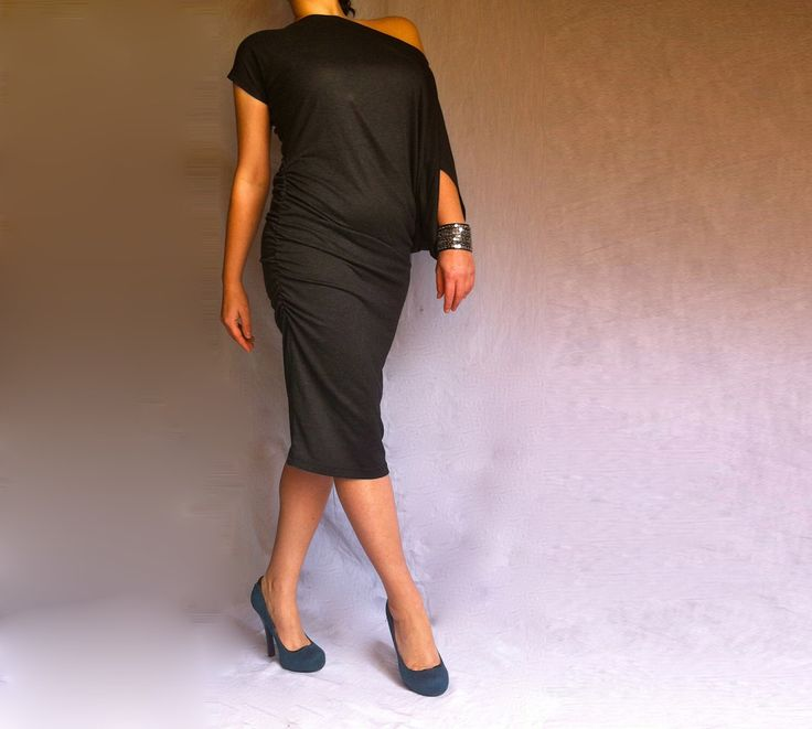 Midi Black Dress / Asymmetric Off Shoulder Dress / Black Tunic Short Sleeves / Italian Cotton by BoutiqueAlaMode on Etsy https://www.etsy.com/uk/listing/96851191/midi-black-dress-asymmetric-off-shoulder