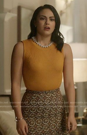 Veronica's yellow top and patterned skirt on Riverdale.  Outfit Details: https://wornontv.net/68787/ #Riverdale