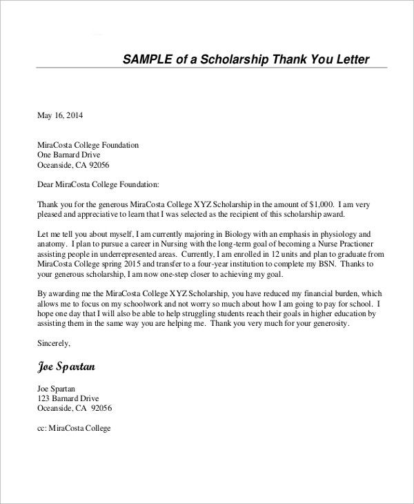 Examples Of Scholarship Thank You Letters New Sample Thank You Letter For Schola Scholarship Thank You Letter Thank You Letter Examples Thank You Letter Sample