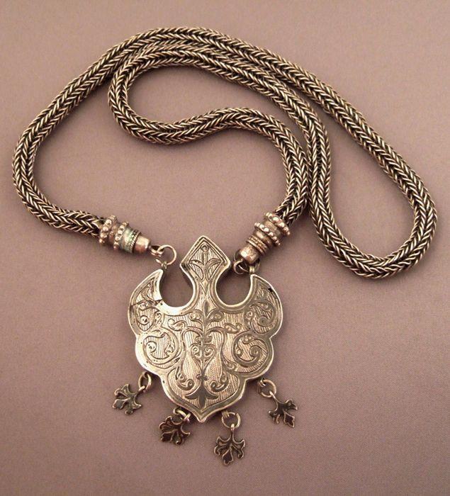 Dagestan   Silver and niello necklace