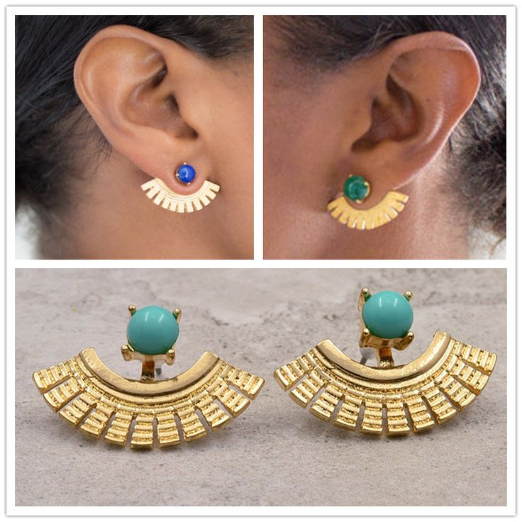 New Fashion Jewelry Cool Punk Stone Clip Stud Gift For Women Girl 2