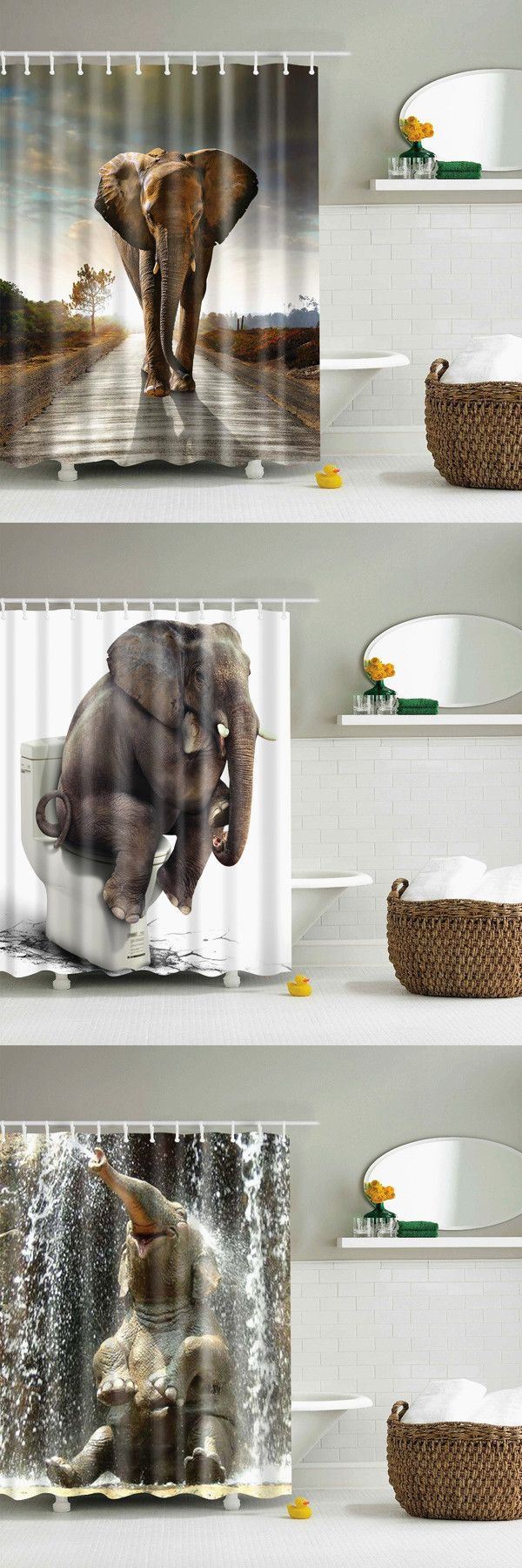 Elephant Sunset Bathroom Shower Curtain - Brown