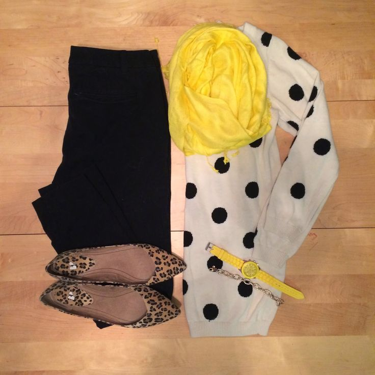 This is really cute- Love the polka dots with leopard and the bright yellow scarf.