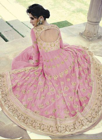 Jinaam Floral 7318 C Pink Color Georgette Designer Suit