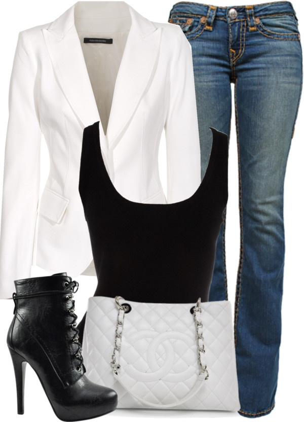 """White Blazer, Black Tank Top, and Blue Jeans"". Mhmmm this will b my outfit goin to NY on Thurs! Yep!"