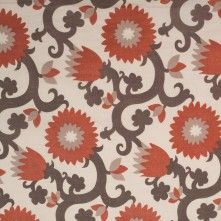 Orange/Brown Floral Printed Cotton Voile