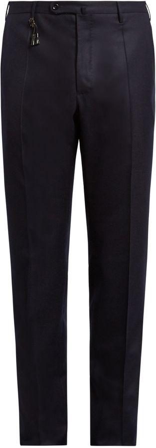INCOTEX Regular-fit wool-twill trousers