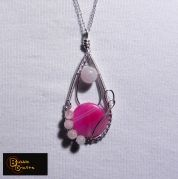 wire wrapped pendant, made with pink agate stones and rose quartz | BubbleCrafts | www.facebook.com/bubblecrafts.handmade