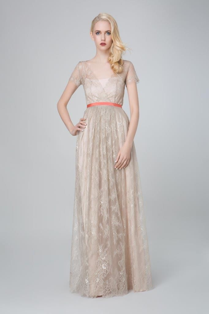 SADONI evening dress ZIRA in light grey lace, with nude ZOLA under dress