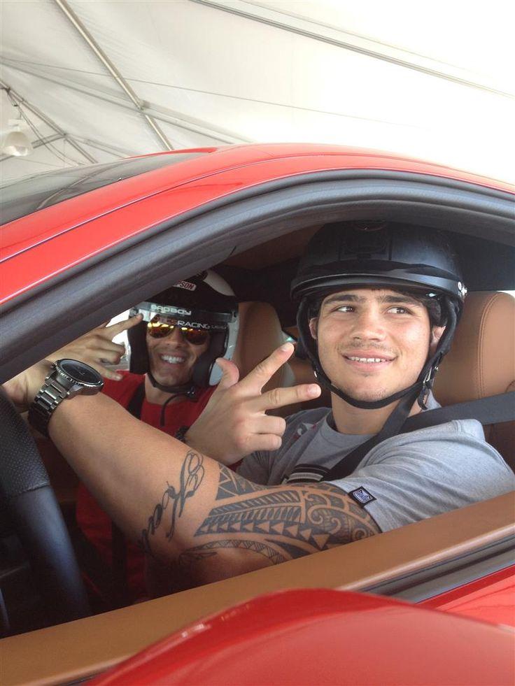 Erick Silva ready for a drive in the Ferrari 458 Italia