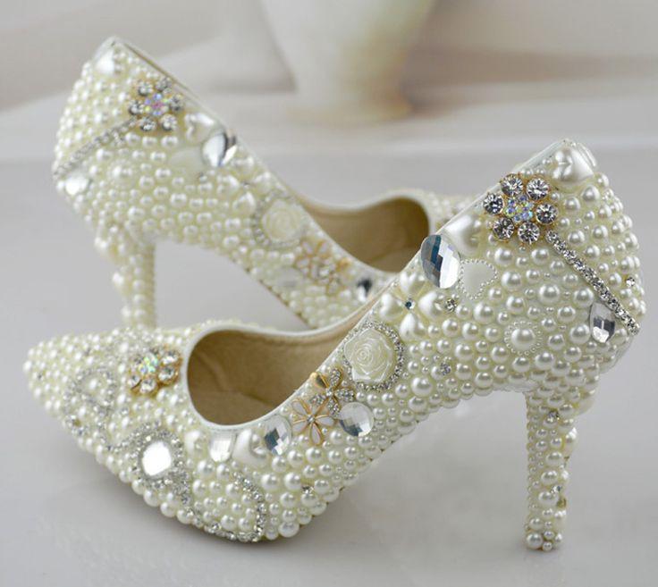 Острым носом жемчужина свадебные туфли 3 дюйм(ов) высокий каблук платье невесты обувь цвет слоновой кости женщин ну вечеринку обувь для выпускного вечера туфли на высоком каблуке