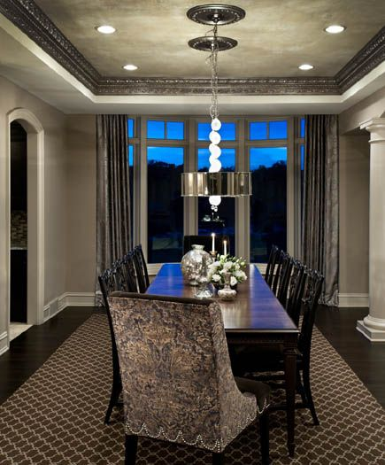 The Dining Room Has Two Chrome Drum Shades Atypical In A More Traditional  Room. Custom