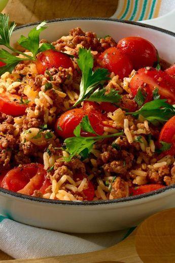 Reispfanne mit Hack und kleinen Tomaten